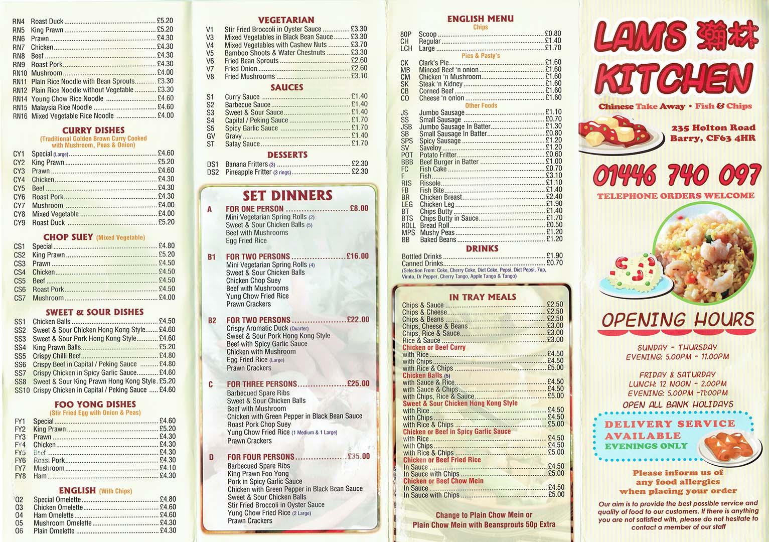 Lam S Kitchen Honolulu Menu